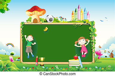 School Kid - illustration of school kid playing in front of...