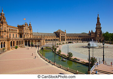 view of Plaza de Espantilde;a, Sevilla, Spain - view of...