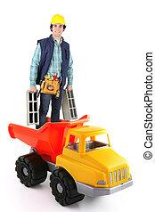 Building worker standing in plastic truck