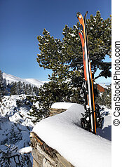 Skis leaning against a stone wall
