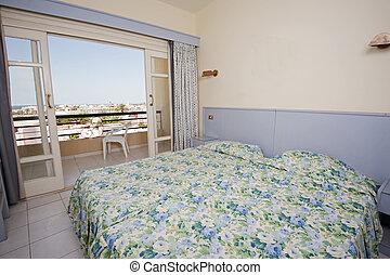 Bedroom in a hotel suite