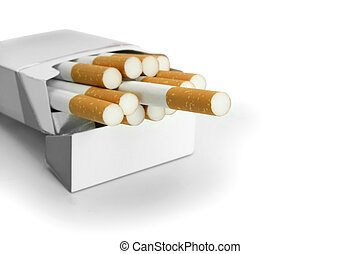 Open packet of cigarettes