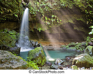 Dominica Explorations - Spectacular waterfall and pool on...
