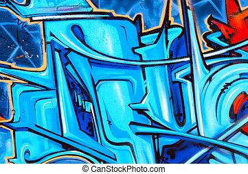 Blue graffity - Graffity in the full frame