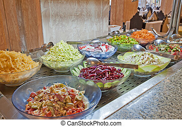 Salad selection in a hotel buffet - Selection of salads at a...