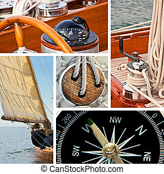 Sailboat and yacht collage - Composition of boats and...