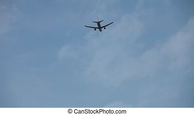 aircraft flight - Plane passing overhead on the blue sky
