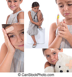 Various images of a girl wearing plasters