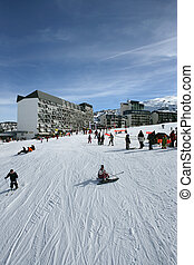 Busy ski resort