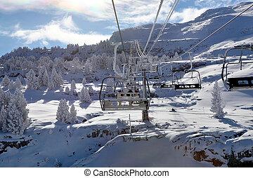 Landscape shot of ski lift