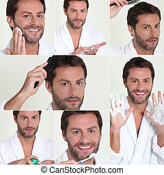 Montage of male grooming