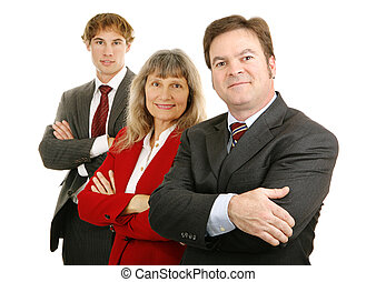Confident Business Team - Handsome businessman confidently...