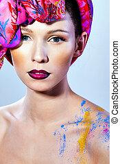 Beautiful women with art lips - fashion stylish portrait...