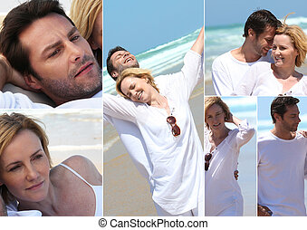 Various shots of a couple on the beach