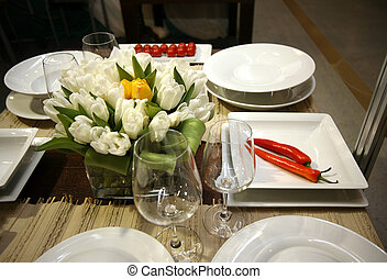 Restaurant table setting - The served table at restaurant...