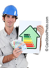 manual worker holding cash and energy information
