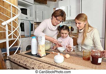 Women of the family baking