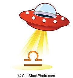 Libra zodiac UFO button