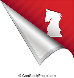 Chess knight corner tab - Chess or strategy icon on vector...