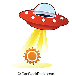 Sun UFO button - Sun icon on retro flying saucer UFO with...