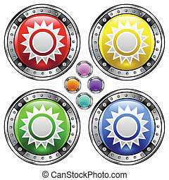 Sun colorful button - Sun icon on on round colorful vector...