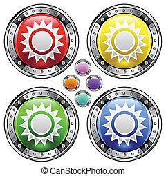 Sun colorful button