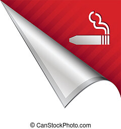 Cigar smoking corner tab - Cigar smoking icon on vector...