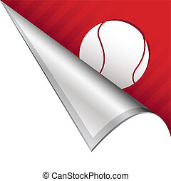 Tennis ball corner tab - Tennis ball sports icon on vector...