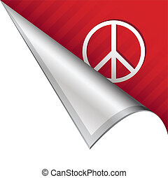 Peace sign corner tab - Peace sign icon on vector peeled...