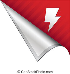 Lightning bolt corner tab - Lightning bolt or electricity...