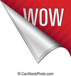 Wow corner tab - Wow icon on vector peeled corner tab...