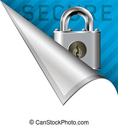 Secure corner tab - Secure or lock icon on vector peeled...