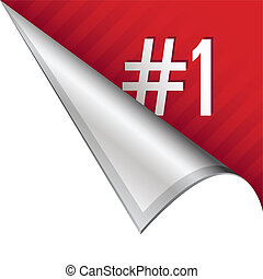 Number one corner tab - Number one icon on vector peeled...