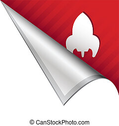 Rocket ship corner tab - Retro rocket icon on vector peeled...
