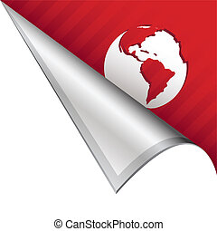 Globe corner tab - Globe icon on vector peeled corner tab...