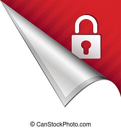 Lock corner tab - Secure or lock icon on vector peeled...