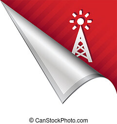 Cell tower corner tab - Cell phone signal tower icon on...