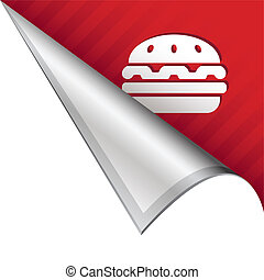 Hamburger corner tab - Hamburger icon on vector peeled...