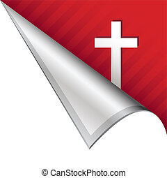 Christian cross corner tab - Christian cross icon on vector...
