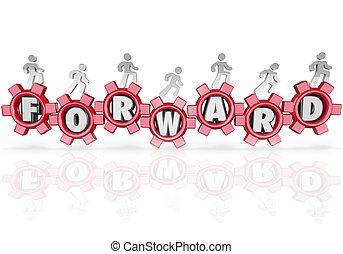 Forward Team People Marching Walking Progress Movement - A...