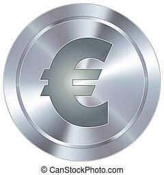 Euro icon on industrial button