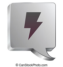 Lightning icon on steel bubble - Electricity or lightning...