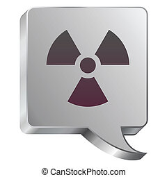 Radiation icon on steel bubble - Radiation hazard icon on...