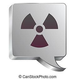 Radiation icon on steel bubble - Radiation hazard icon on...