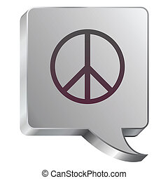 Peace sign on steel bubble - Peace sign icon on stainless...