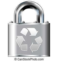 Recycling symbol secure lock - Recycle symbol icon on secure...