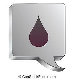 Water drop icon on steel bubble