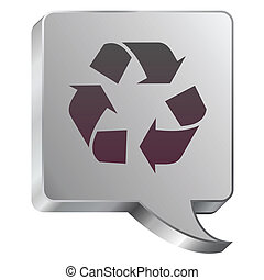 Recycle icon on steel bubble - Recycle symbol icon on...