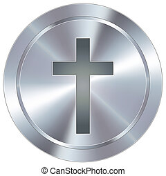 Cross icon on industrial button - Christian cross icon on...