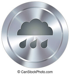 Rain cloud on industrial button - Rain cloud weather icon on...